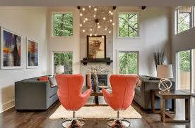 living room with sputnik chandelier