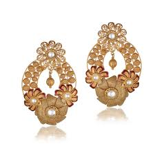 add the dangle of the indian chandelier earrings or the jhumka designs in gold to your attire