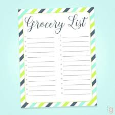 Thanksgiving Grocery List Template Blank Shopping List Printable Template Thanksgiving Grocery
