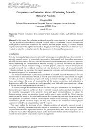 Comprehensive Evaluation Model Of Evaluating Scientific Research ...