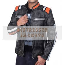 retro cafe racer classic double stripe jacket men s distressed black leather jacket