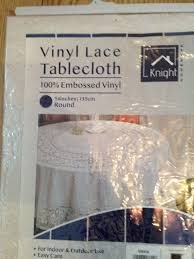 54 round vinyl lace white tablecloth 135cm table cloth 100 vinyl table cover 5025762536418