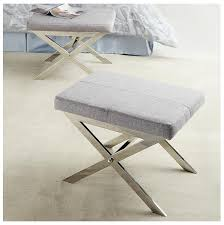 charming upholstered stool for your interior design modern gray fabric upholstered stool with chrome x