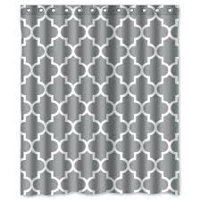 classic grey and white polyester fabric custom shower curtain quatrefoil teal