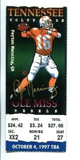 Ticketcity is a trusted source to buy alabama crimson tide football vs ole miss rebels football tickets. 1997 Tennessee Vols V Ole Miss Rebels Football Ticket 10 4 Peyton Manning 54753 Ebay