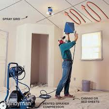 to texture a ceiling apply knockdown