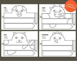 Crown Template Mesmerizing Farm Animal Paper Crown Printable Coloring Crown Etsy