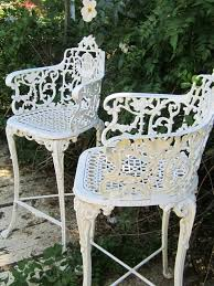 garden furniture wrought iron. vintage victorian white ornate wrought iron chair indoor or outdoor barstool garden furniture
