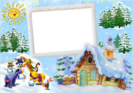 Christmas Photo Frames For Kids Christmas Kids Winter Frame With Winnie The Pooh And Friends