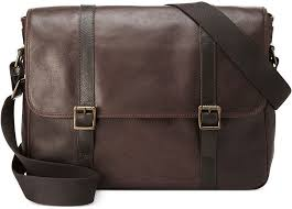 leather messenger bags fossil estate east west messenger bag