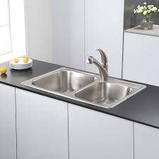kraus 33 inch topmount 60 40 double bowl 18 gauge stainless steel kitchen sink with noisedefend soundproofing free today com