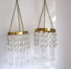 matching pair of small glass antique chandeliers