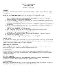 resume welder job description - Resume For Welders