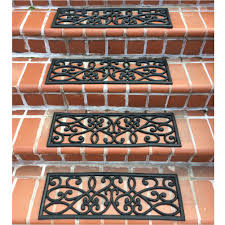 carpet stair treads with matching area rugs elegant amerihome rubber scrollwork black stair tread reviews wayfair