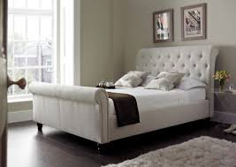 upholstered leather sleigh bed. Wonderful Leather Best Home Captivating Tufted Sleigh Bed Of Harmony Upholstered Natural Beds  From And Leather D