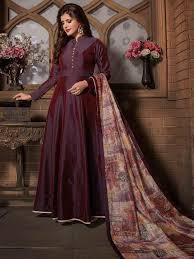 Plain Silk Salwar Kameez Designs Dressy Plain Maroon Silk Anarkali Suit Silk Anarkali Suits