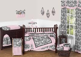 black white pink damask print baby crib bedding 9pc girl nursery set sophia