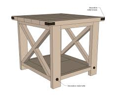 Standard Kitchen Table Sizes Ana White Rustic X End Table Diy Projects