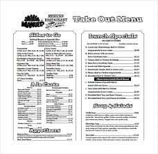 Take Out Menu Template Take Out Menu Template Template Business