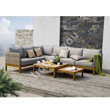 garden furniture set captain with cushions corner sofa and 2 tables color greyish beige teak wood home4you