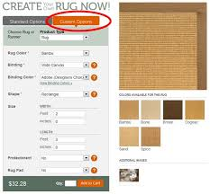 the standard rug sizes are going to be displayed by default to start configuring a custom size area rug on the orange tab titled custom options