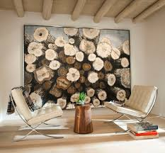 Log art ideas living room mediterranean with blond wood floor blonde wood  neutral tones