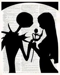 Jack skellington sally zero nightmare before christmas wall   etsy. Jack And Sally Silhouette Moon With Black Rose Nightmare Etsy Jack And Sally Halloween Wall Art Nightmare Before Christmas