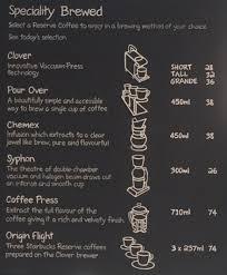 starbucks coffee menu.  Menu Starbucks Coffee Menlyn Menu For Coffee U
