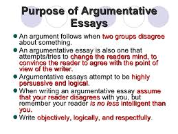 argumentative essay  4 purpose of argumentative essays