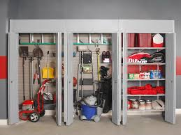 garage organization ideas with wall built in pegboard and steel cabinet with bi fold door ideas