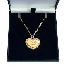 engraved rose gold heart necklace with crystals in various lengths charming engraving