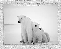 ambesonne sea animals decor collection polar bear family with two small bear cubs around snow cold winter north bedroom living room dorm wall hanging  on black and white bear wall art with polar bear wall art pieces canvases decals metal art and more