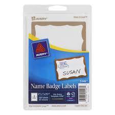 Avery Printable Self Adhesive Name Badges 2 11 32 X 3 3 8 Gold Border 100 Pack