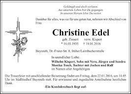 Traueranzeigen von Christine Edel   Nordbayerischer Kurier