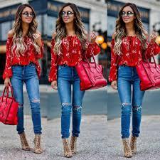 New <b>Women</b> Off Shoulder Tops Red Slash Neck Floral <b>Autumn</b> ...