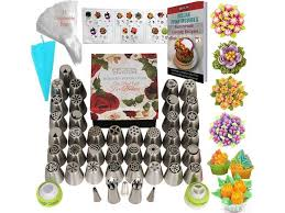 K S Artisan Russian Piping Tips Genuine Cake Decorating Supplies 77 Pcs 42 Icing Tips 31 Frosting Bags 1 Reusable Silicone Bag Best Russian Tips In