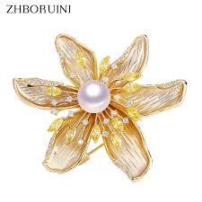 <b>Zhboruini</b> natural freshwater <b>pearl brooch</b> fine zircon matte light ...