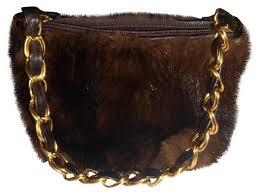 italian designer leather handbag purse brown mink fur baguette