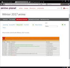 Winter 2017 Anime Chart Fixed Bug Winter 2017 Anime Shows Fatal Error Anime