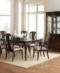 7 pc vienna collection dark cherry finish wood 4 leg dining table set with fabric upholstered chairs oval back rest this set includes the table with a dark