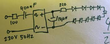 homemade led white light bulb cheap and easy the schematic is quite simple and is a loss powersupply only disadvantage is it s not isolated from the mains so take care when measuring voltage