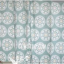 cotton organic light teal and white patterned country porch curtains
