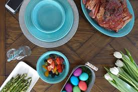 easter lunch on a rustic table