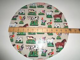 cath kidston oil cloth pvc circular cut fabric farm yard stone pigs ducks horse