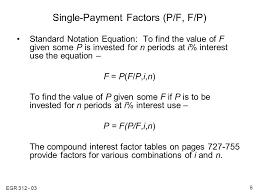 single payment factors p f f p