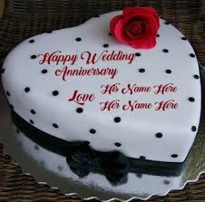 Happy Wedding Anniversary Cake Wishes Couple Name Pictures
