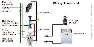 dishwasher plug, disposal on switched plug, power via switch wiring a switched outlet wiring diagram – power to receptacle at Home Wiring Diagrams Switch Outlet