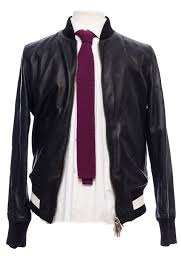 bally reversible varsity leather jacket in black and forest green