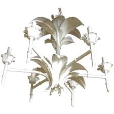palm tree frond leaf leaves metal faux bamboo chandelier palm beach tropical