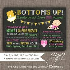 Diaper Shower Invitation Bottoms Up Beer And Diaper Party Invitation For A Man Shower On